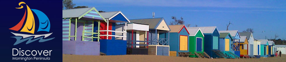 Discover Mornington Peninsula Logo and Picture of Beach Huts on Mount Martha Beach
